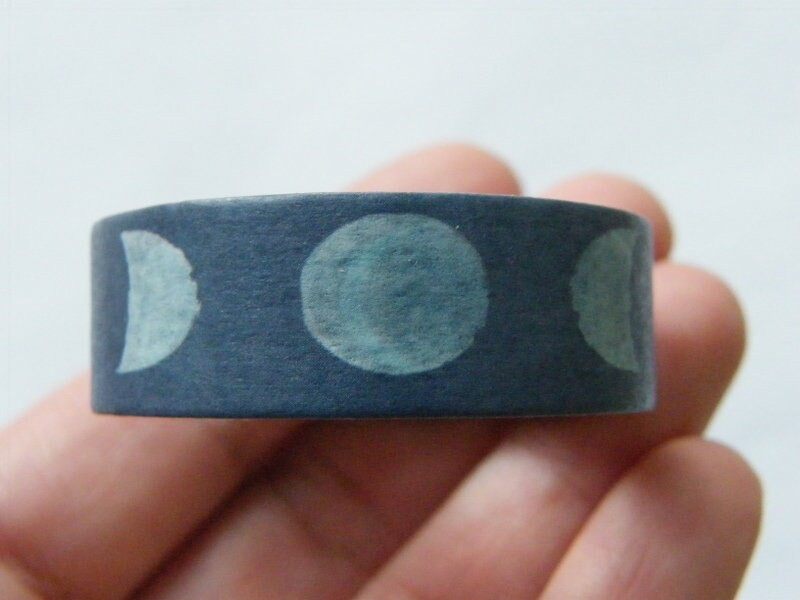 1 Roll phases of the moon blue white washi tape ST