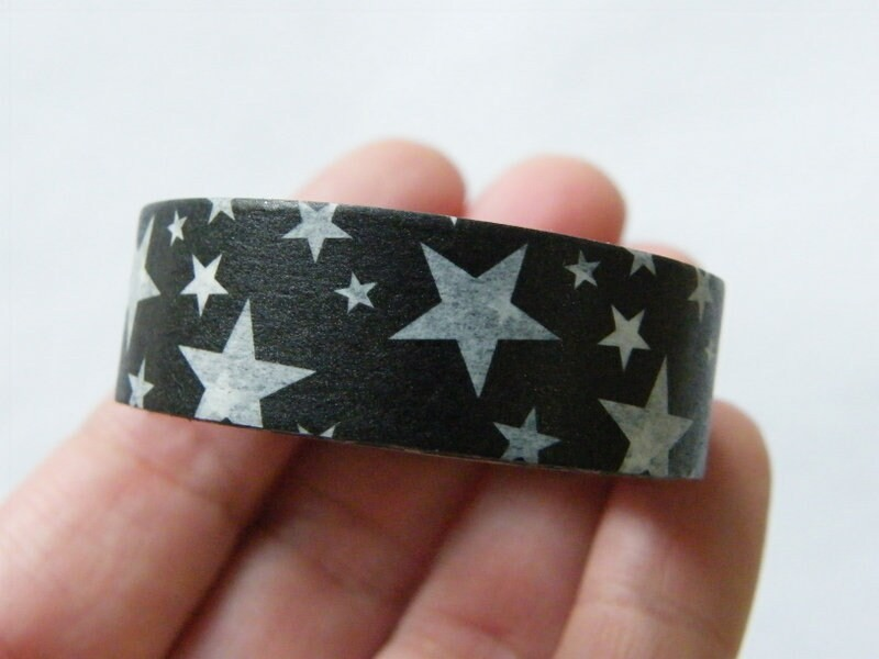 1 Roll star black white washi tape ST