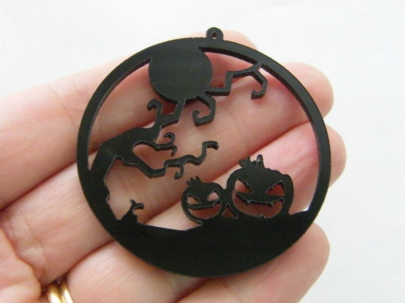 1 Creepy tree full moon pumpkin Halloween pendant black acrylic HC303