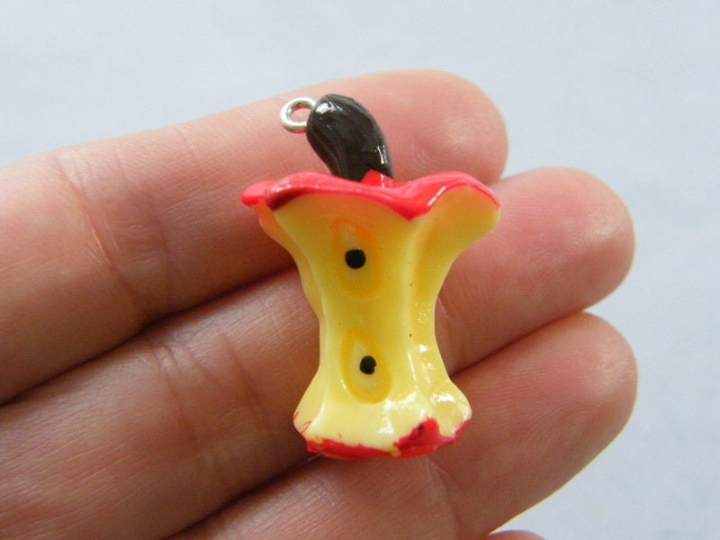 4 Red apple core pendants acrylic FD523