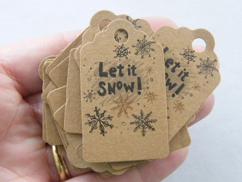 40 Let it snow Christmas tags craft paper brown CT