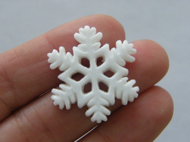 8 Snowflake embellishment cabochons white glitter resin SF23