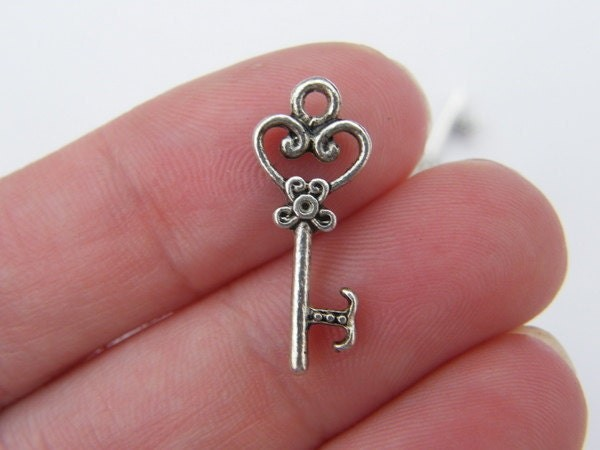 BULK 50 Key charms  antique silver tone K24