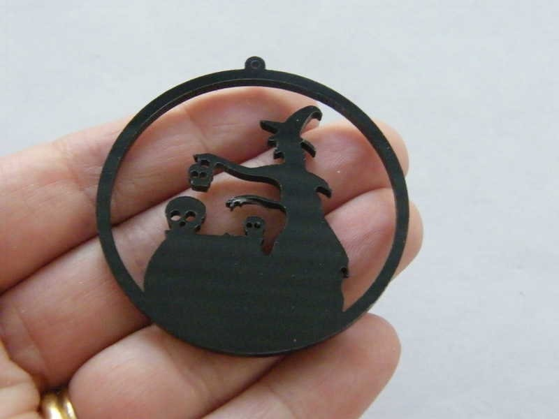 1 Witch cauldron Halloween pendant black acrylic HC319