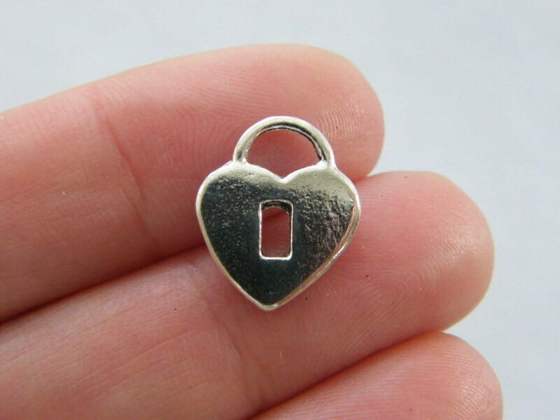 12 Lock heart charms antique silver tone K25