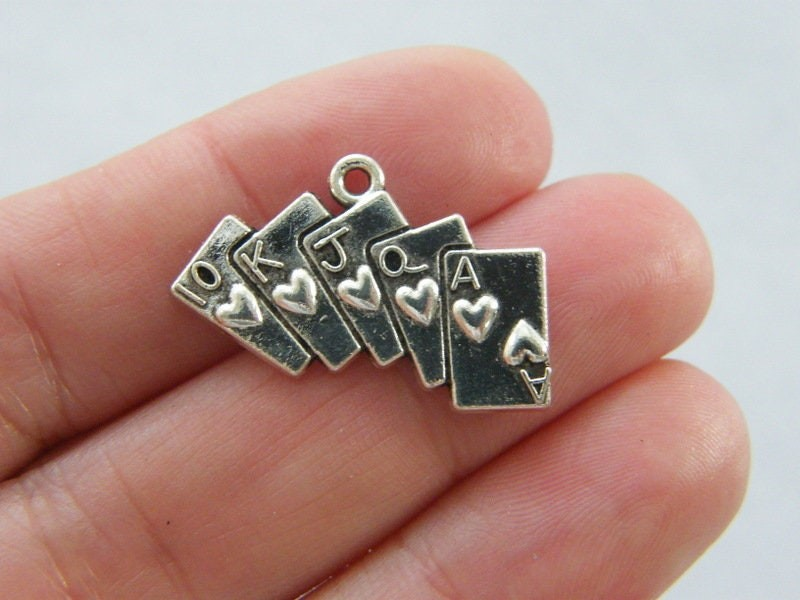 10 Poker playing card charms antique silver tone P155