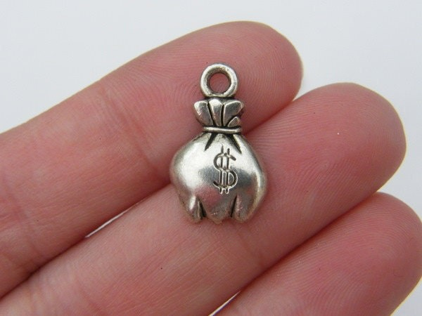 10 Money bag pouch charms antique silver tone CA115