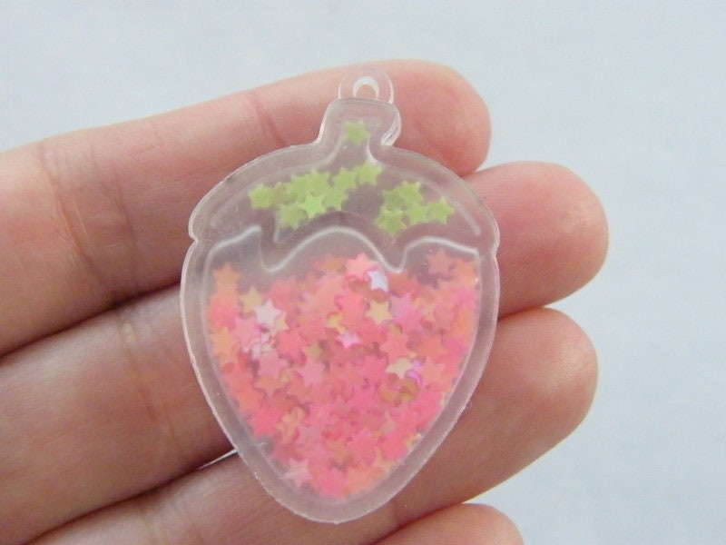 1 Strawberry pendants red green star glitter acrylic FD562
