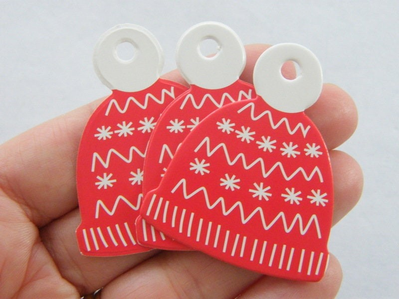 20 Christmas knitted hat tags red white paper CT