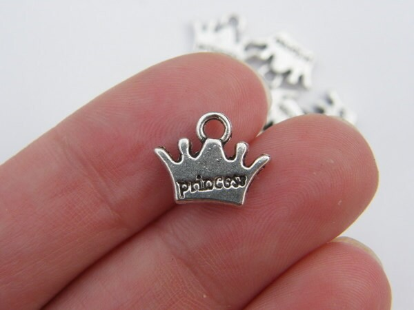 10 Princess crown charms antique silver tone CA36