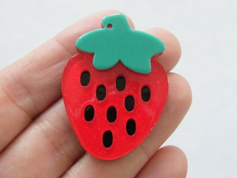4 Strawberry pendants red black green resin FD549