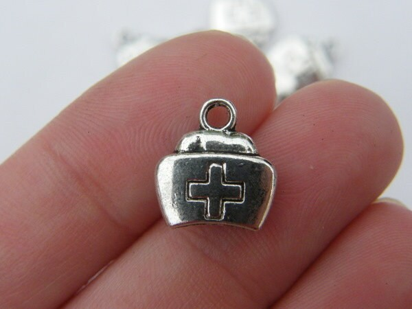 8 Nurse hat cap charms antique silver tone MD9