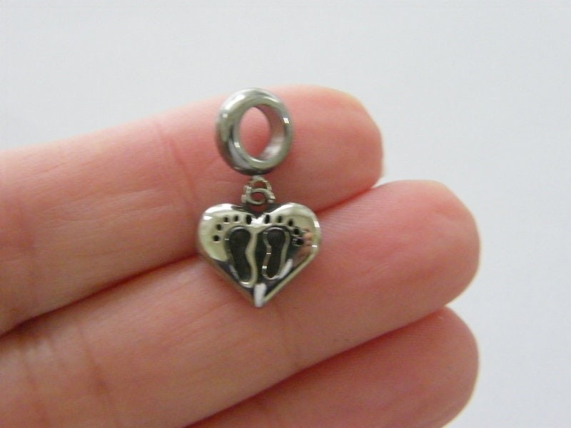 1 Heart footprints baby charm with bail dark silver tone stainless steel P168