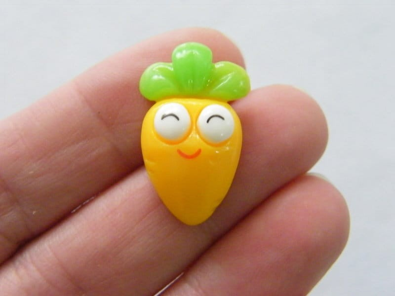 10 Yellow green carrot face embellishment cabochons resin FD560