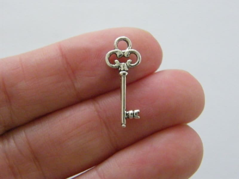 BULK 50 Key charms antique silver tone K3