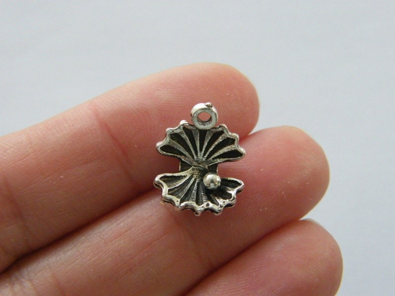 BULK 50 Oyster with pearl shell charms antique silver tone FF170