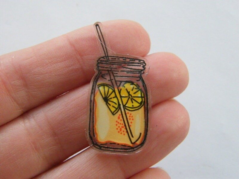 4 Jam jar lemon lemonade cocktail tea embellishment cabochons FD621