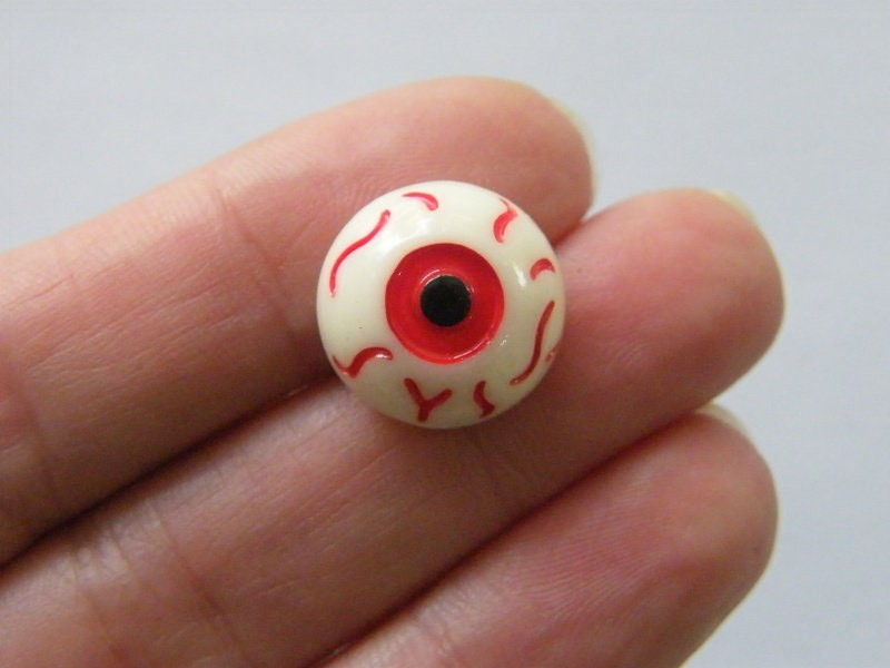 10 Off white red and black eye cabochon embellishment resin HC335