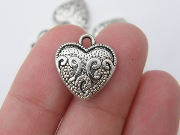 BULK 50 Heart charms antique silver tone H47