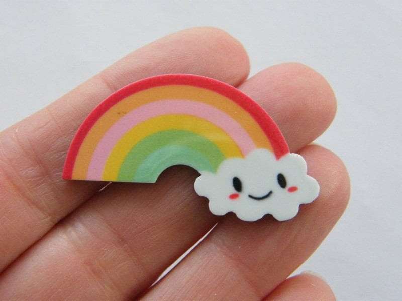 BULK 30 Rainbow cloud embellishment cabochons plastic S232