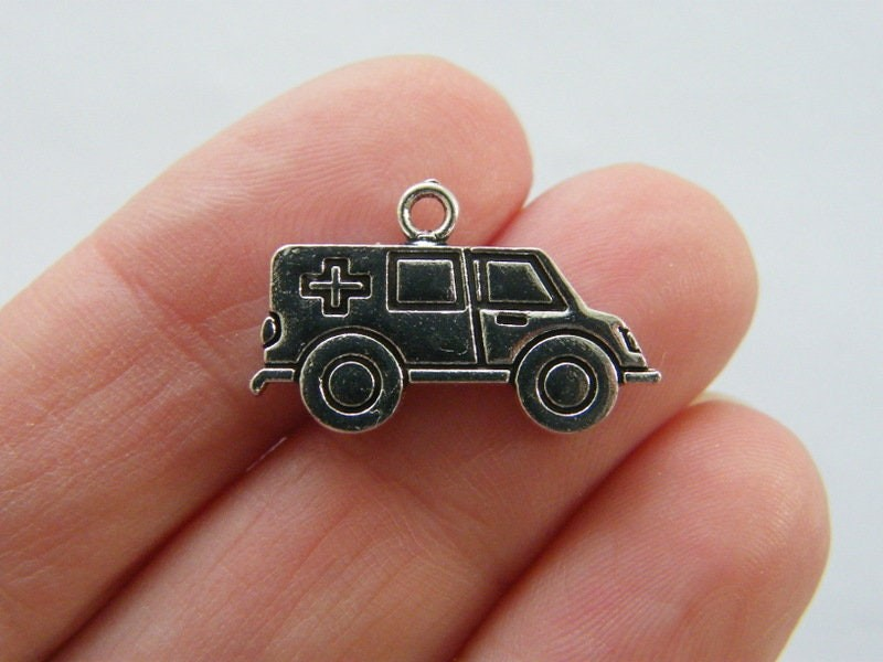 8 Ambulance  charms  antique silver tone MD25