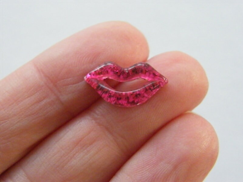 30 Lip mouth embellishment cabochons fuchsia pink glitter resin P150