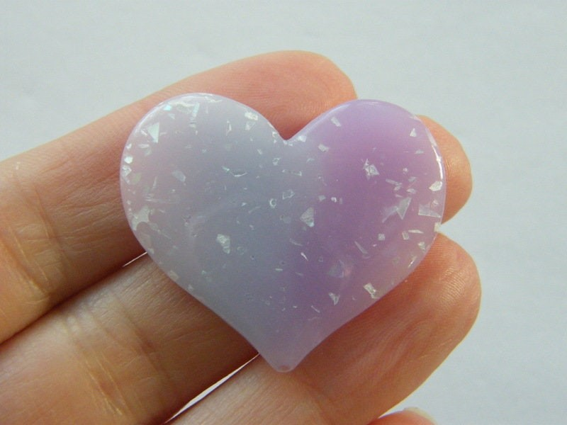 8 Heart embellishment cabochons lilac purple resin H129