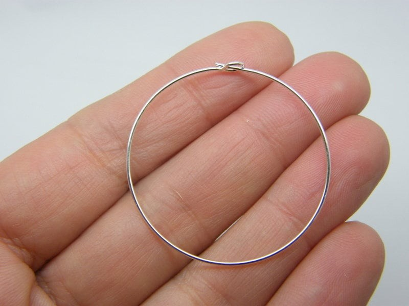24 Wine glass charm hoops 36 x 38mm silver plated FS170