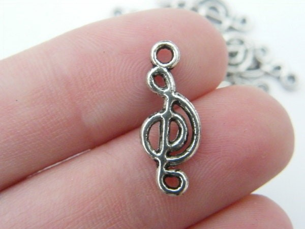 16 Music note  charms tibet silver MN10