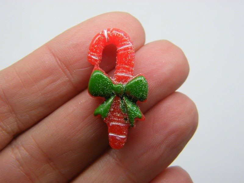 8 Candy cane Christmas embellishment cabochons resin CT137