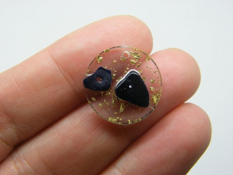 2 Gold foil black stone clear resin charms M17