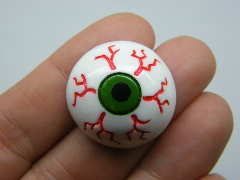 4 White green black and red eye cabochon embellishment resin HC264