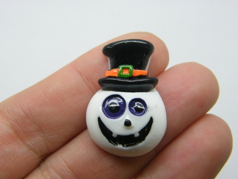 4 Skeleton top hat Halloween embellishment cabochons resin HC339
