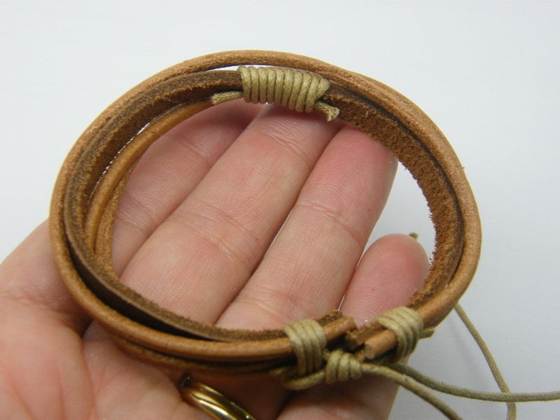 BULK 10 Brown leather and cord bangle bracelets  NB23