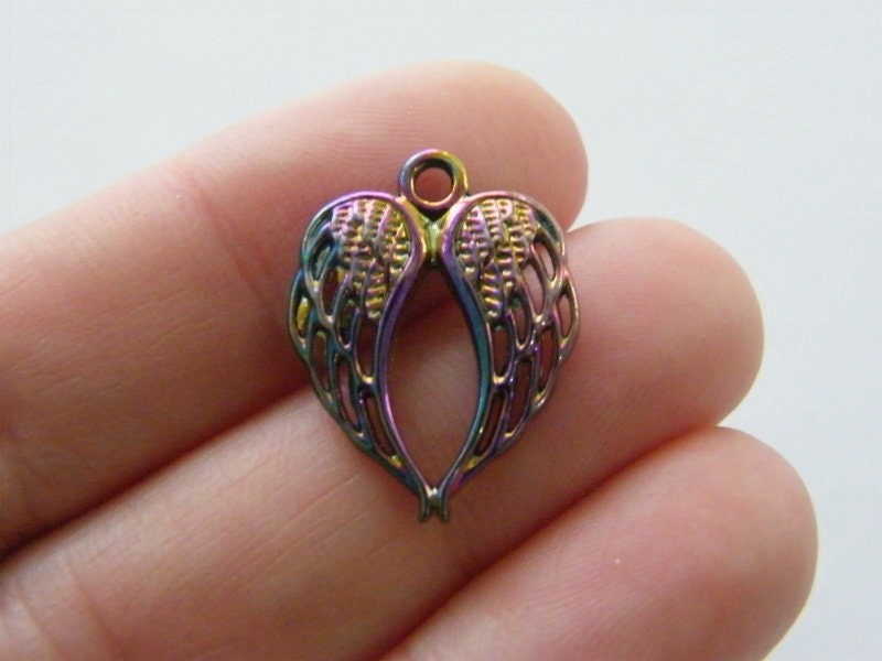 4 Angel wings charms multi colour tone AW102