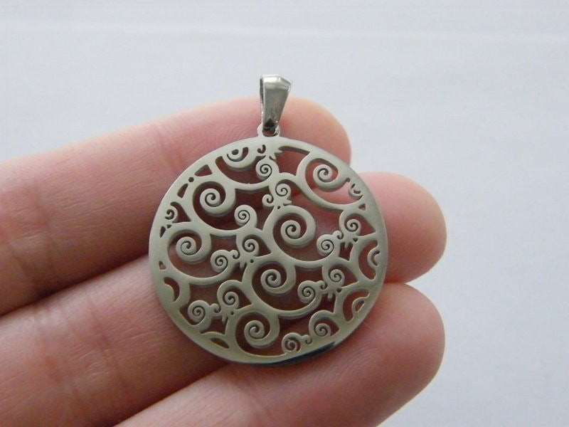 1 Wave pendant silver stainless steel SC68