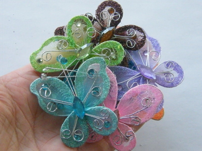 6 Butterfly embellishment random assorted polyester A1043
