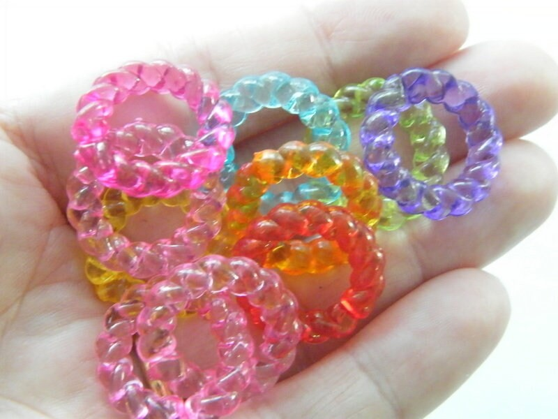 50 Quick link ring transparent random mixed acrylic AB626