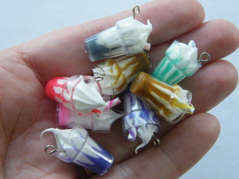 4 Ice cream soft serve cup  pendants random mixed acrylic FD646