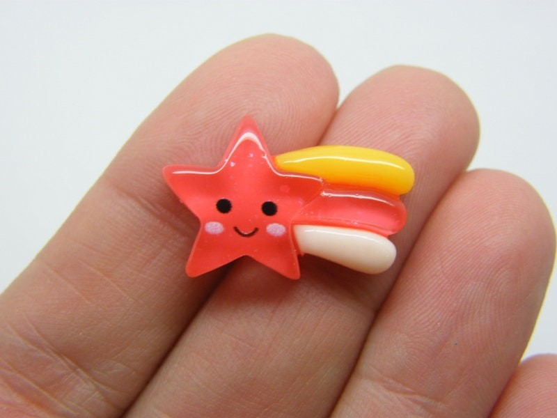 8 Shooting star embellishment cabochons red resin S242