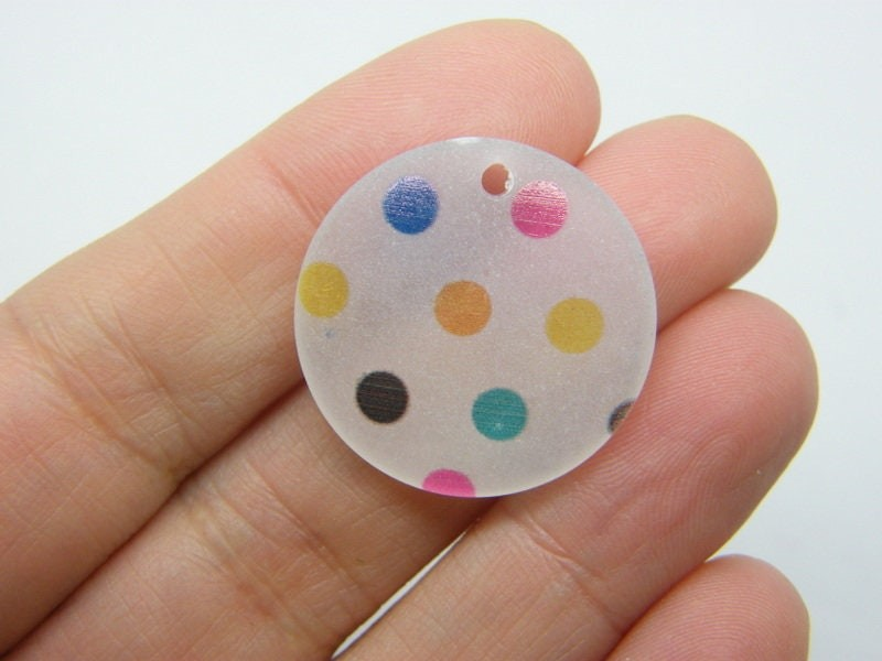 4 Polka dot pendants frosted white resin M261