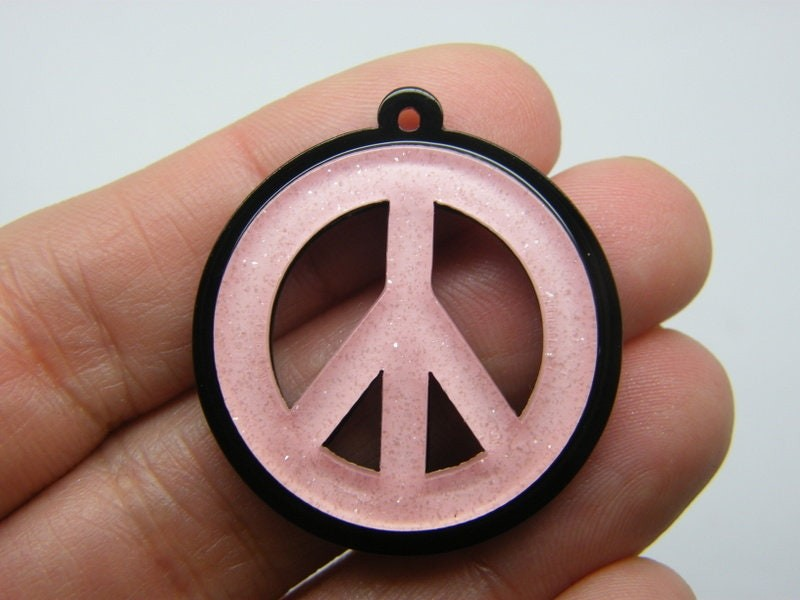 2 Pink on black peace glitter powder pendants resin P428