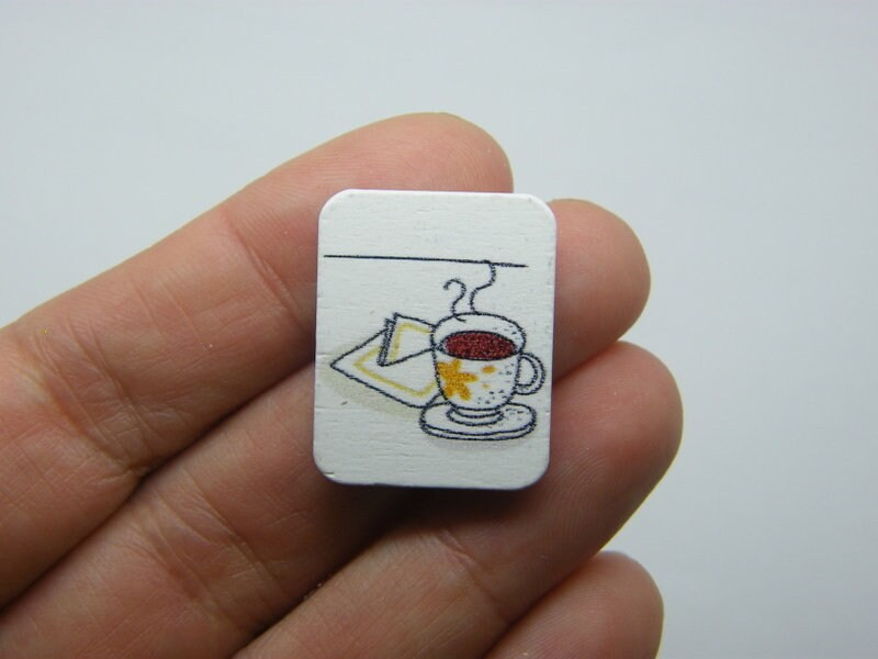14 Cup of tea and a sandwich cabochons wood FD653
