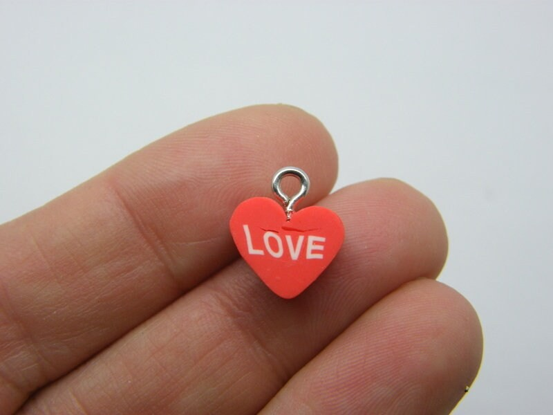 14 Heart love charms red white polymer clay H59