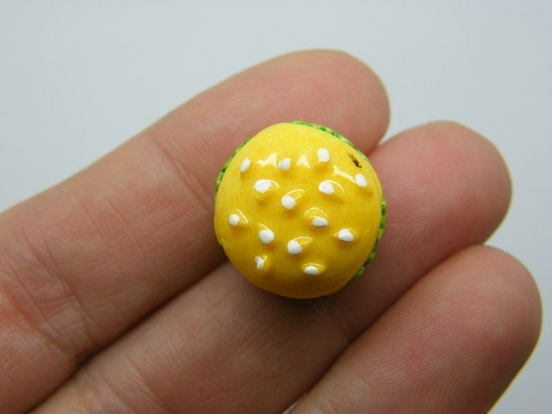 BULK 30 hamburger embellishment miniature cabochon  resin FD665