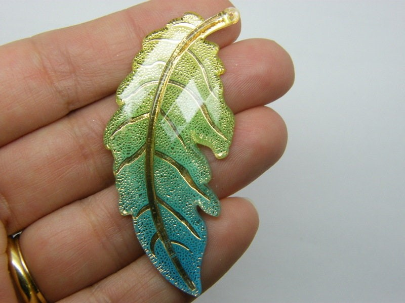 4 Leaf pendants yellow green blue gold acrylic L188