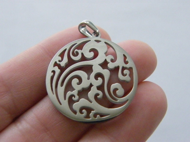 1 Wave pendant silver tone stainless steel SC11