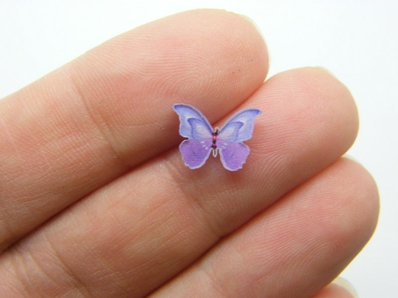 10 Butterfly embellishment cabochons resin A538