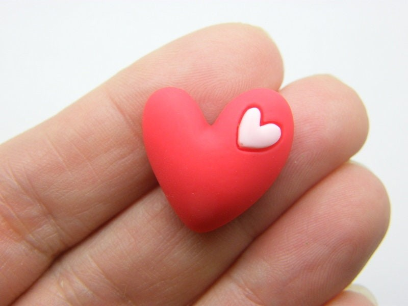 8 Heart embellishment cabochons red pink resin H12