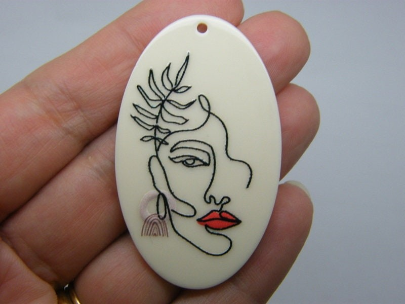 1 Lady woman face resin P183